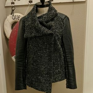 Adorable H & M Tweed and Faux Leather Moto Jacket
